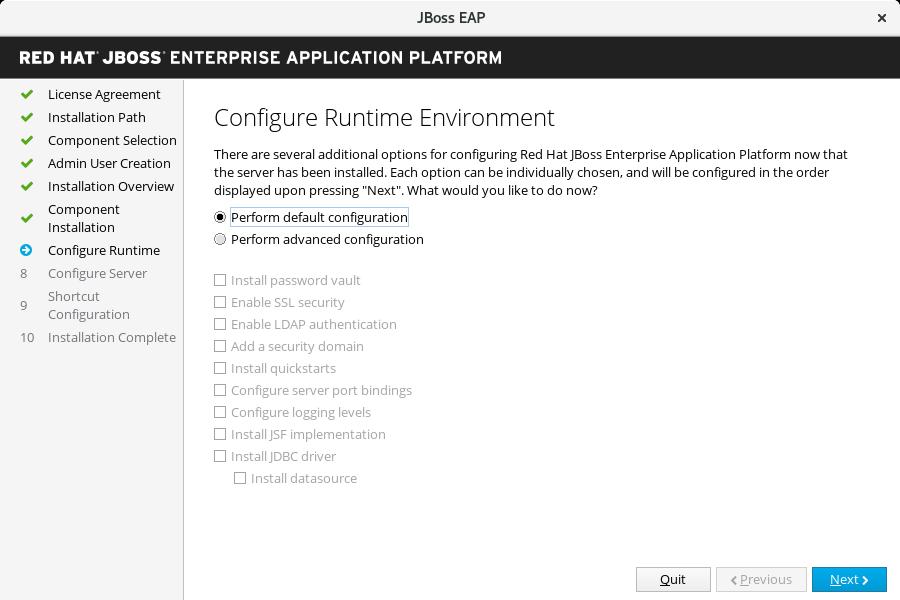 JBoss EAP インストーラー: ランタイム環境設定画面