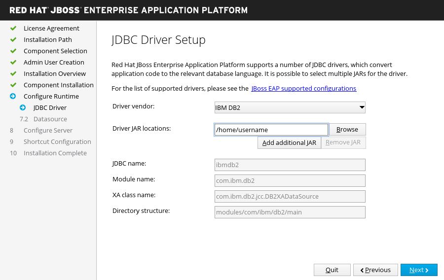 JBoss EAP インストーラー: JDBC ドライバーセットアップ画面