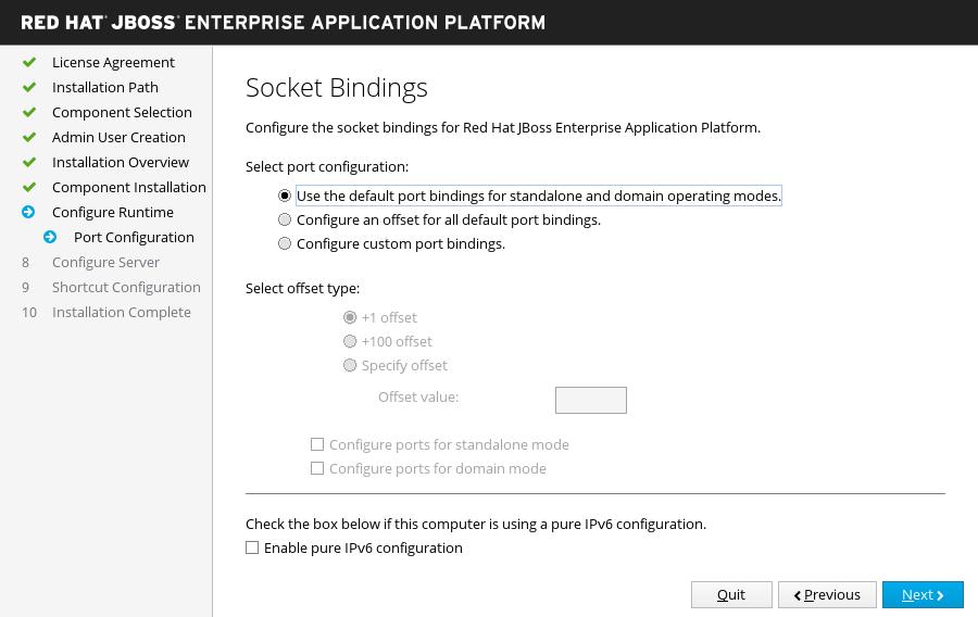 JBoss EAP インストーラー: ソケットバインディング画面