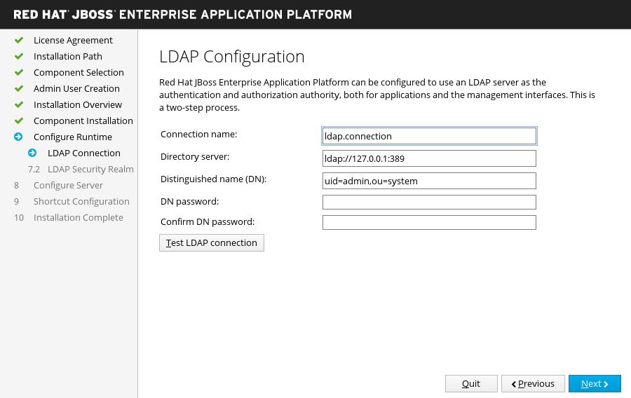 JBoss EAP インストーラー: LDAP 設定画面