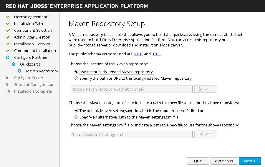 JBoss EAP インストーラー: インストーラー - Maven リポジトリーセットアップ画面