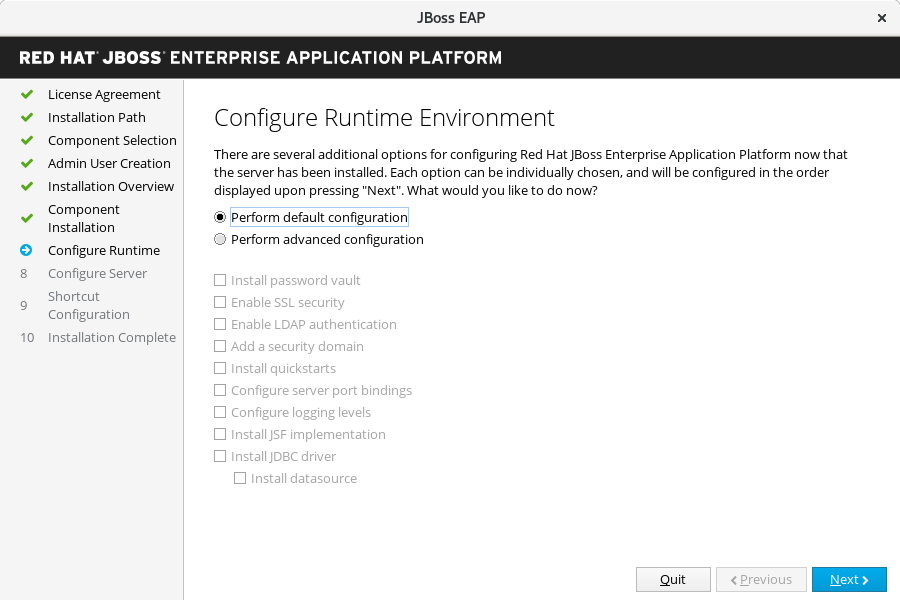 JBoss EAP Installer - Configure Runtime Environment Screen