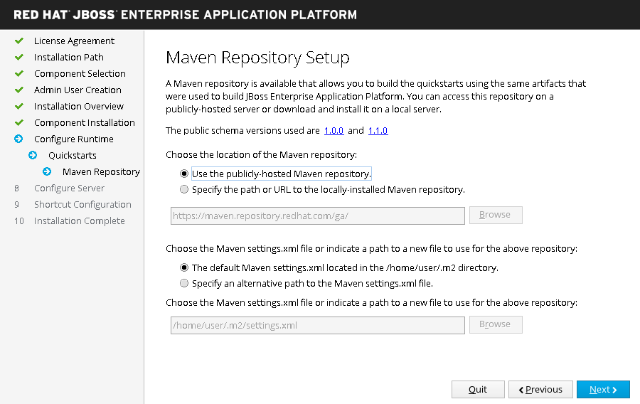 JBoss EAP Installer - Installer - Maven Repository Setup Screen