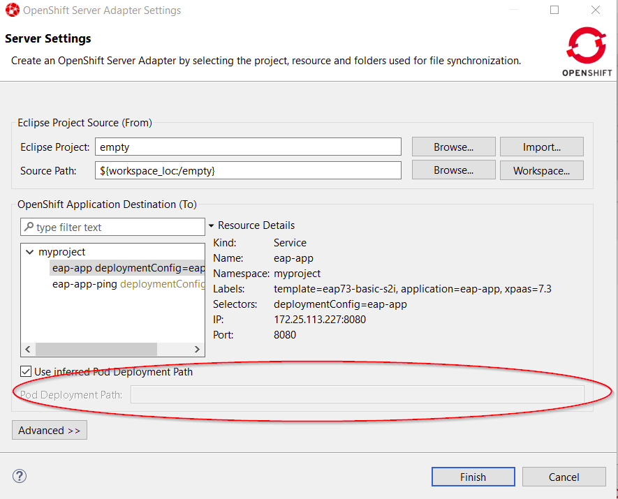 OpenShift Server Adapter Settings Sever Settings window showing workaround configuration