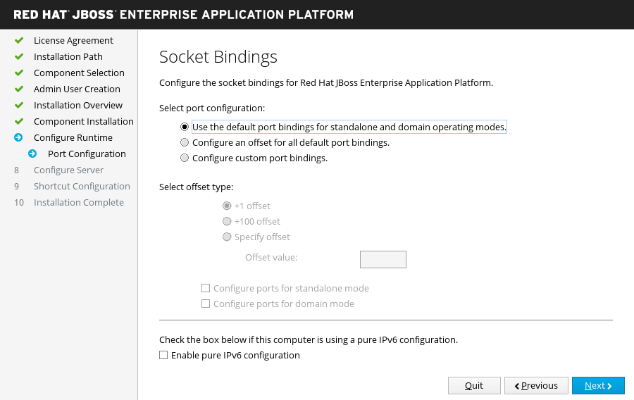 JBoss EAP Installer - Socket Bindings Screen