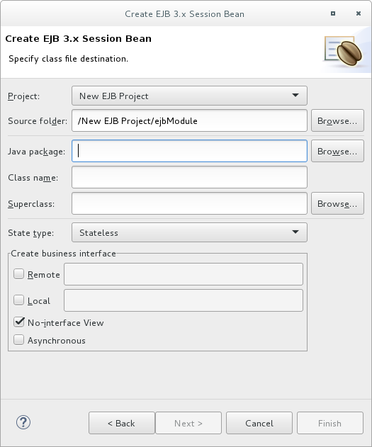 Create EJB 3.x Session Bean wizard