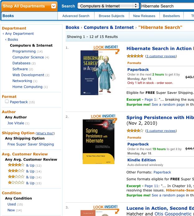 Search for Hibernate Search on Amazon