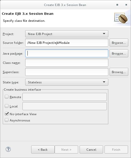 Create EJB 3.x Session Bean wizard