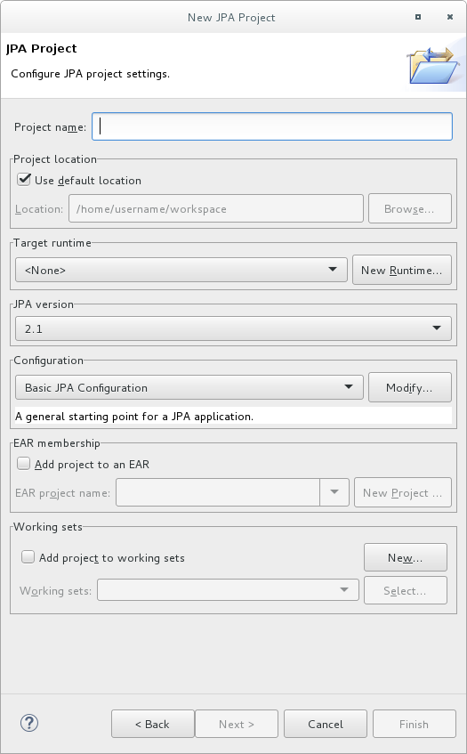 This is the new JPA Project dialog.
