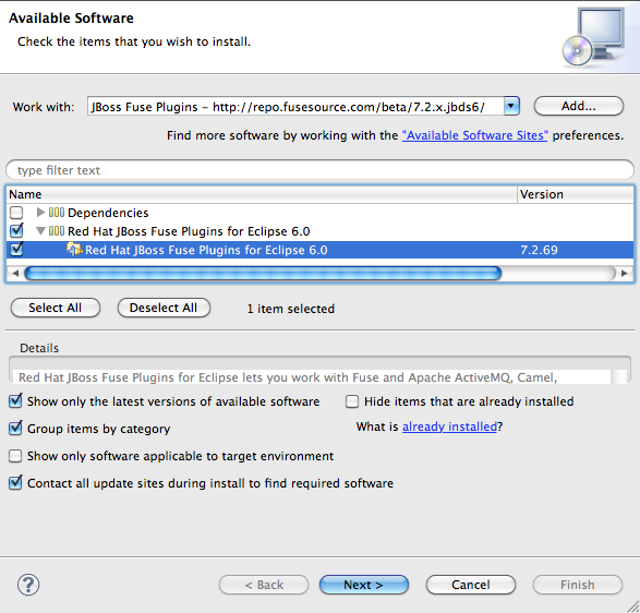 2 2  Installing the Red Hat JBoss Fuse Plugins for Eclipse via