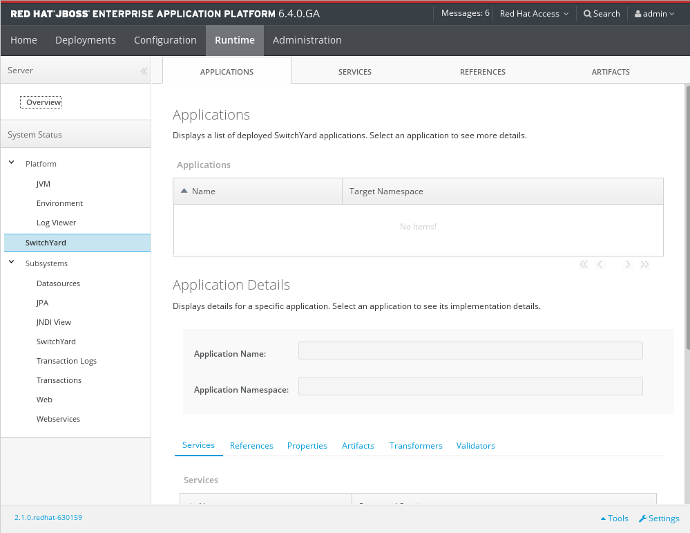 Screenshot of EAP 6.0 Runtime Operations SwitchYard page