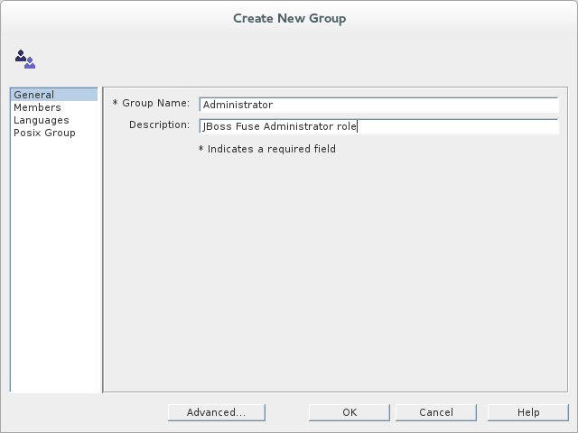 Filling the fields of the General tab in the Create New Group dialog