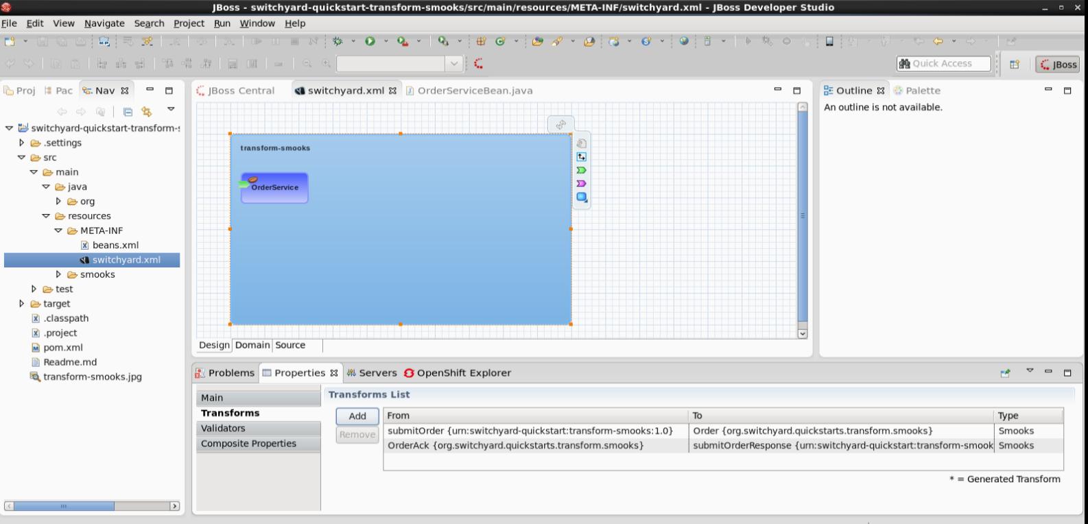 Configure Smooks transformations Using SwitchYard Editor