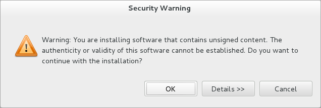 During the installation process you may receive warnings about installing unsigned content. If this is the case, check the details of the content and if satisfied click OK to continue with the installation.