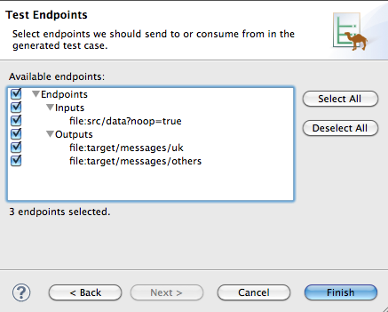 Example Test Endpoints page