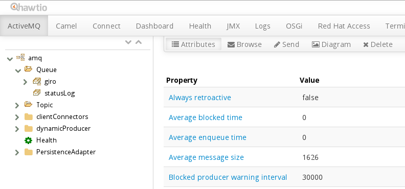 View of the statusLog Queue in Hawtio