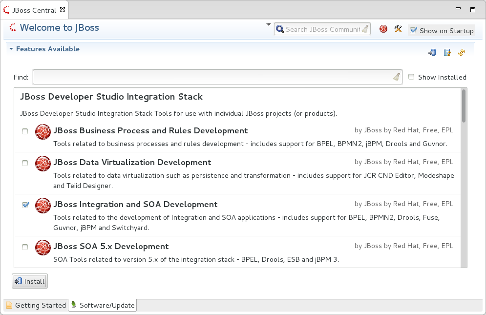 In JBoss Central, select the Software/Update tab. Scroll through the list to locate JBoss Developer Studio Integration Stack. Select the check box next to JBoss Integration and SOA Development and click Install.