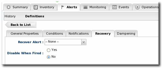 Disable and Recover Alerts