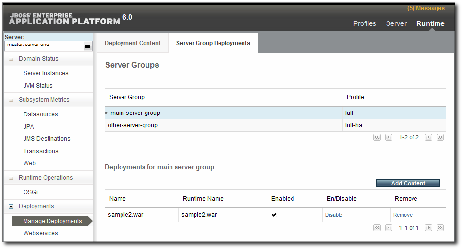 Deployments in the Runtime Page