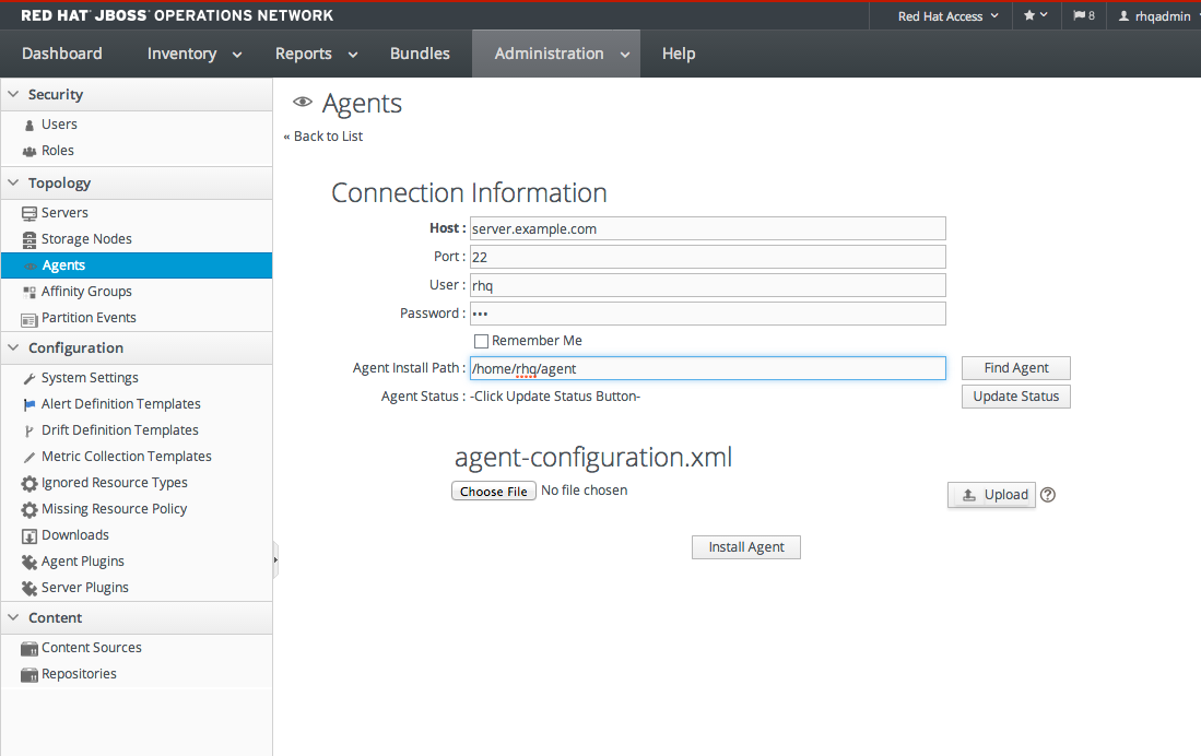 Chapter 8  Installing an Agent Using the JBoss ON User