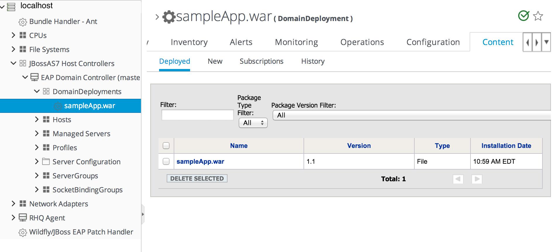 Deployment Resource Details in JBoss ON