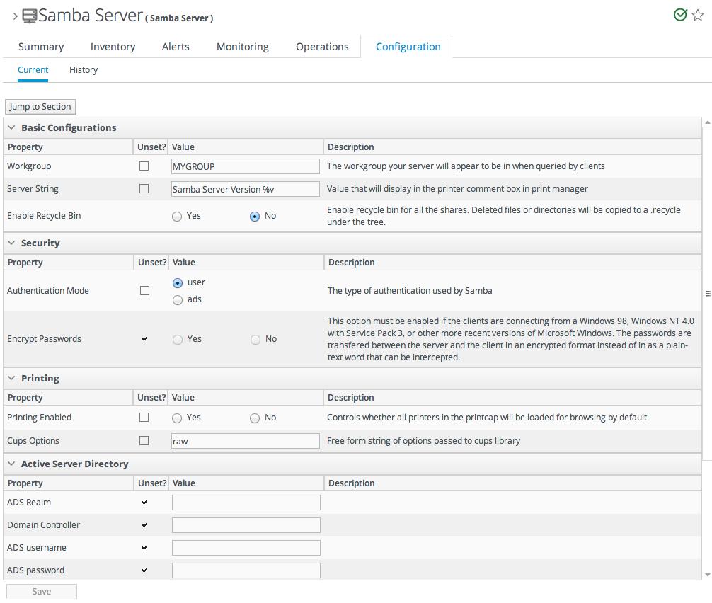 Configuration Form for a Samba Server