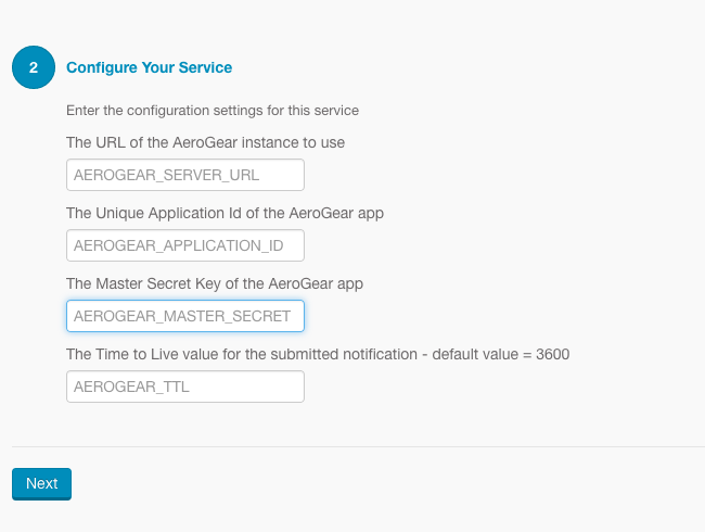 Create Push Service Config