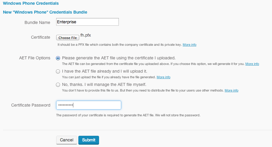 wp create credential bundle