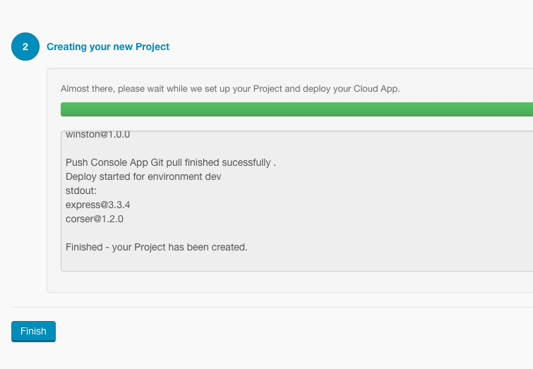 Create Project Complete
