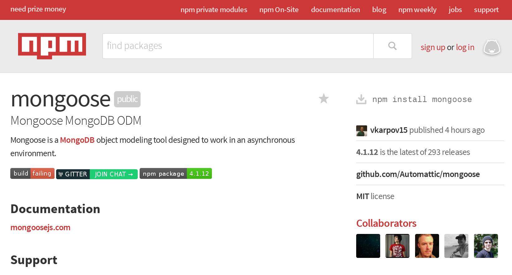 npmjs.com Mongoose package detail