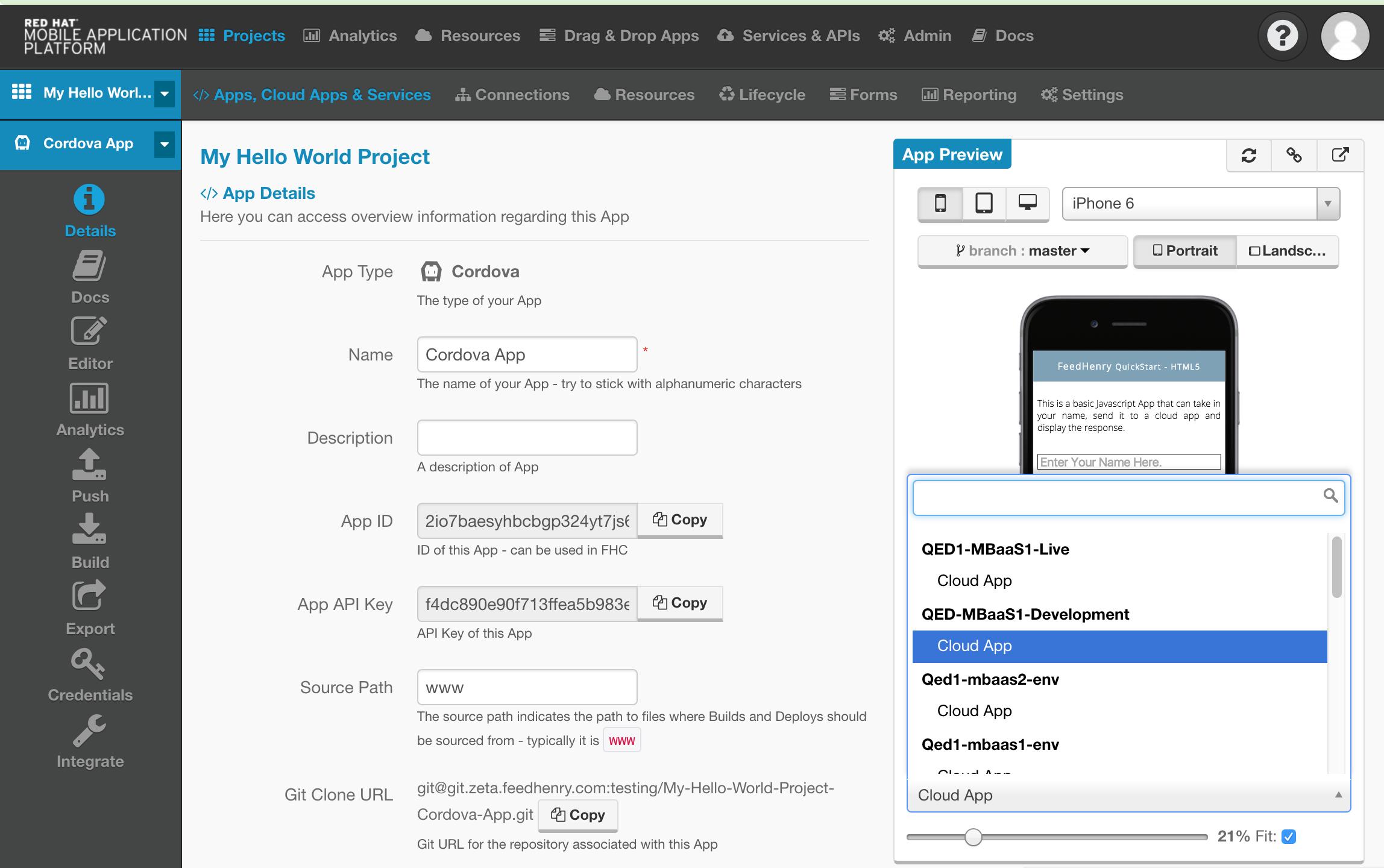 Client App Environment Details
