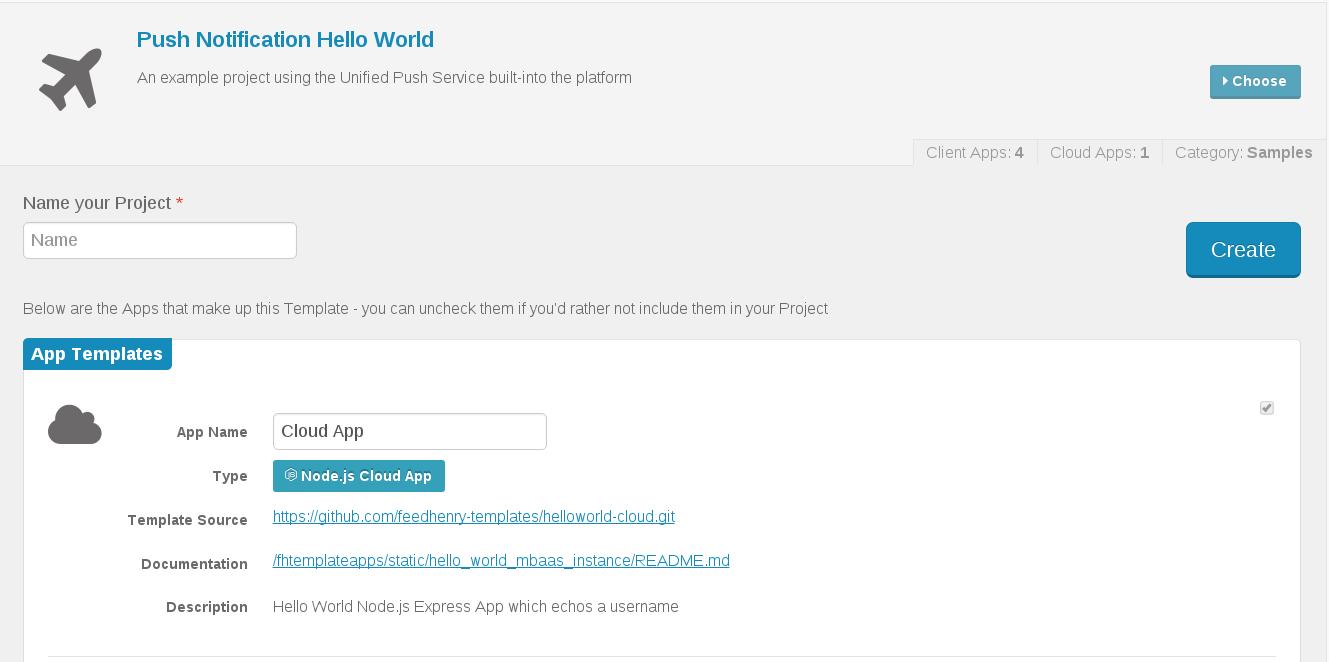 Push Notification Hello World template