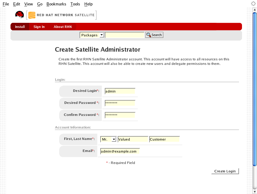 Admin Account Creation
