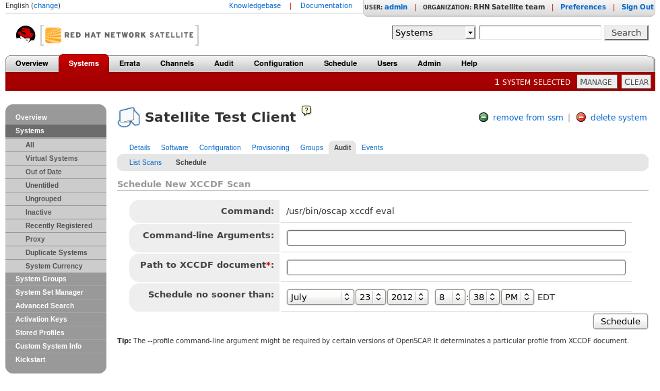 Scheduling a Scan via Web UI