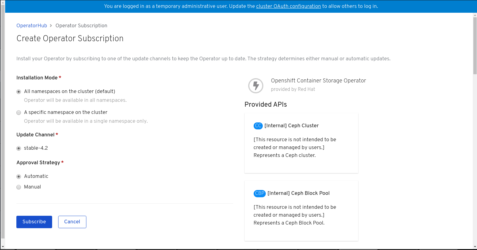 Screenshot of create operator subscription page.