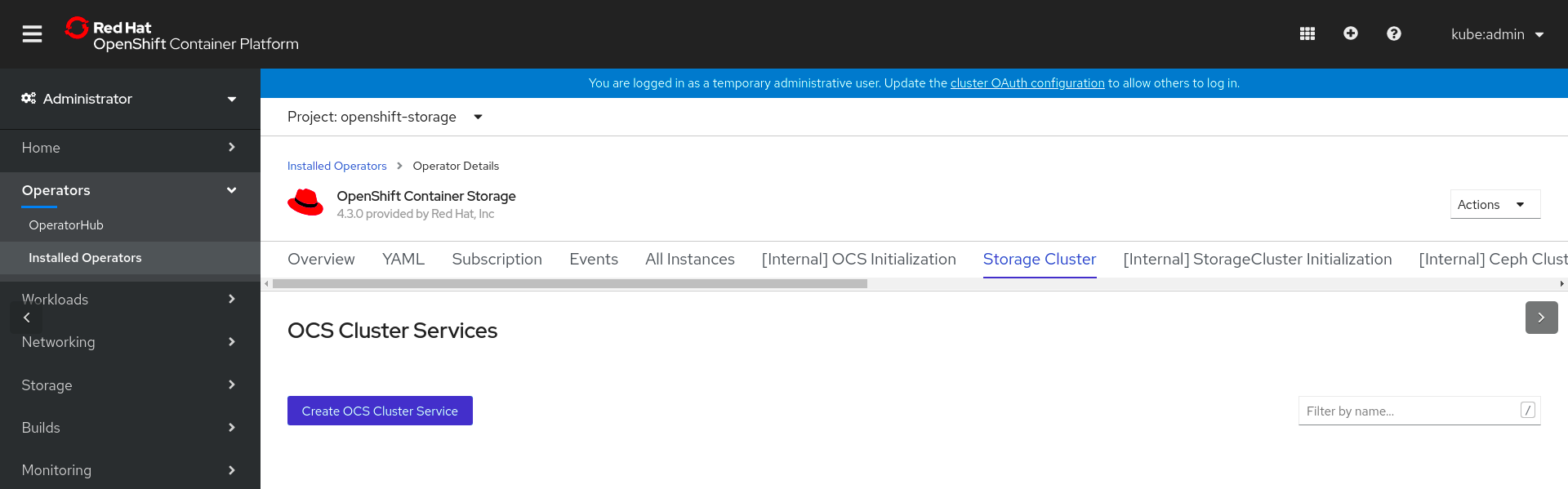 Screenshot of OpenShift Container Storage operator page.