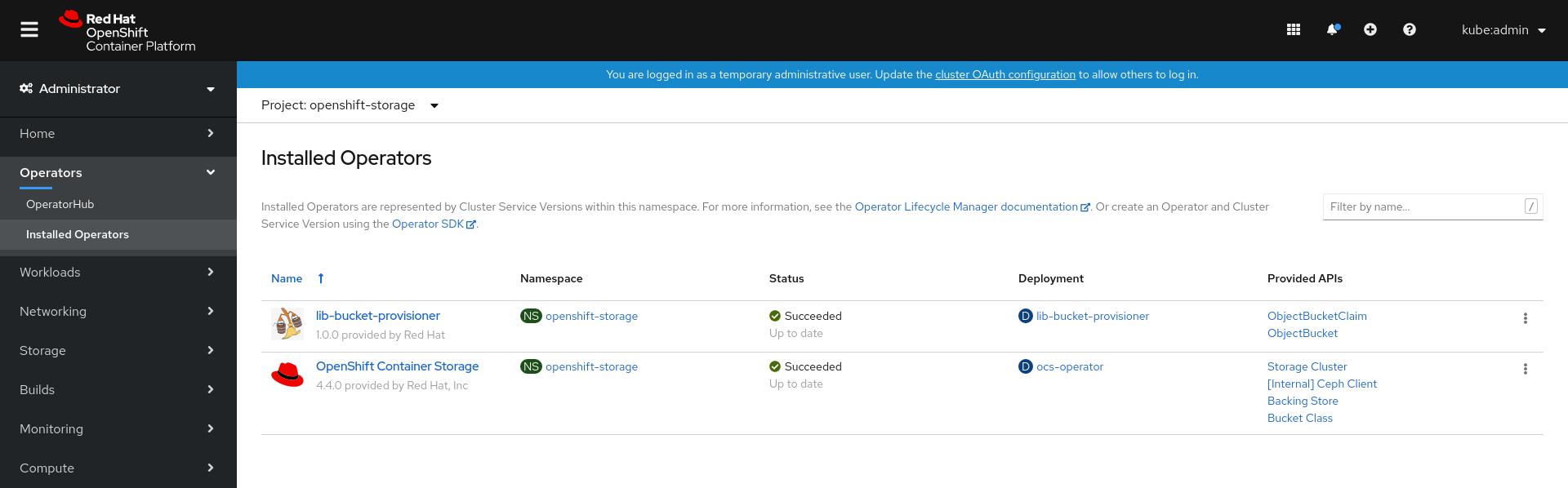 Screenshot of the installed operators.