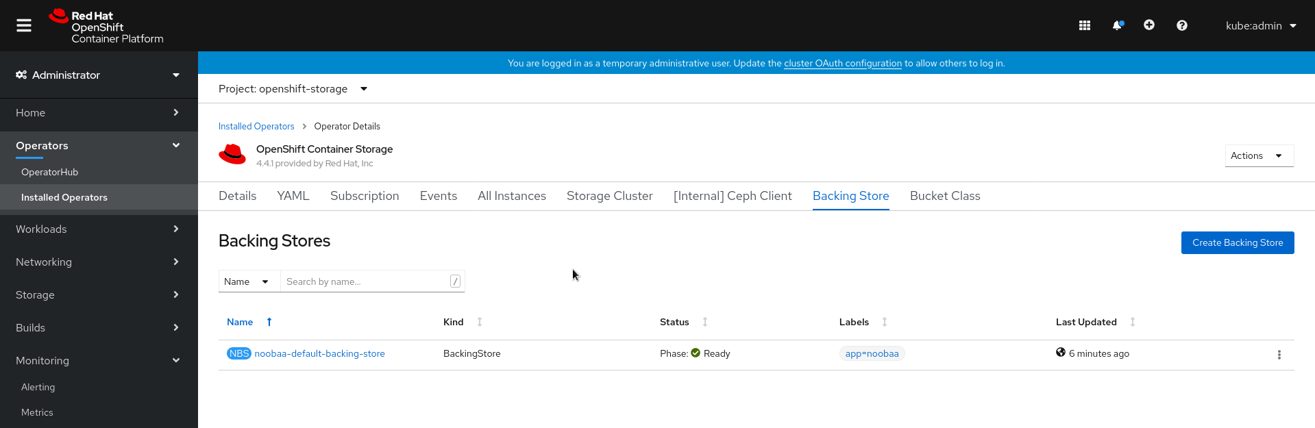 Screenshot of OpenShift Container Storage operator page with backing store tab.
