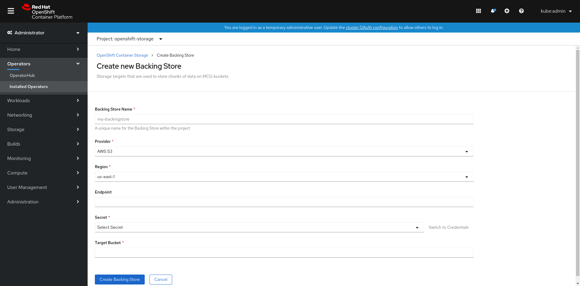 Screenshot of create new backing store page.