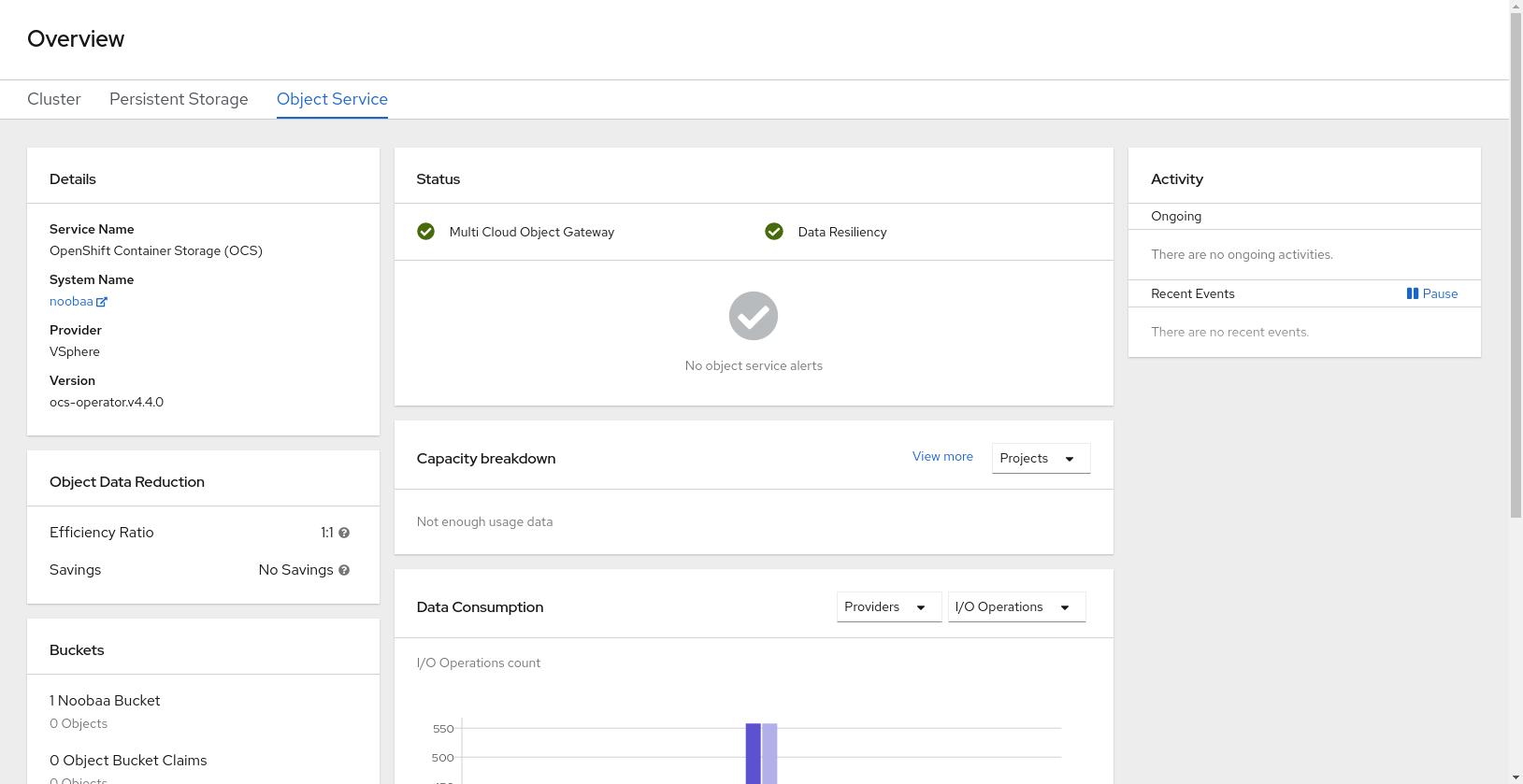 Screenshot of object service dashboard