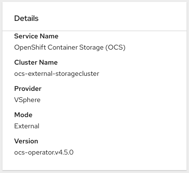 Screenshot of Details card in persistent storage dashboard for external mode