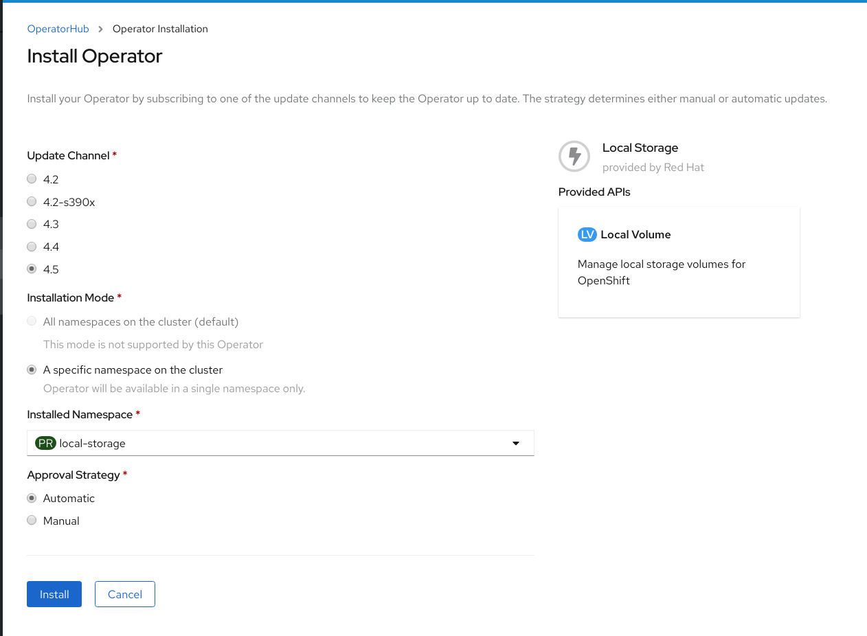 Screenshot of Install Operator page.