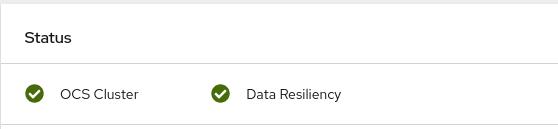Screenshot of Health card in persistent storage dashboard