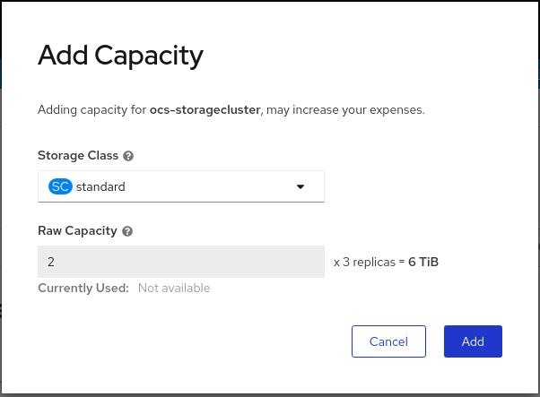 OCS add capacity dialog gcp