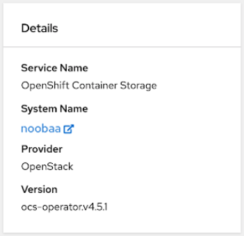 Screenshot of Details card in object service dashboard