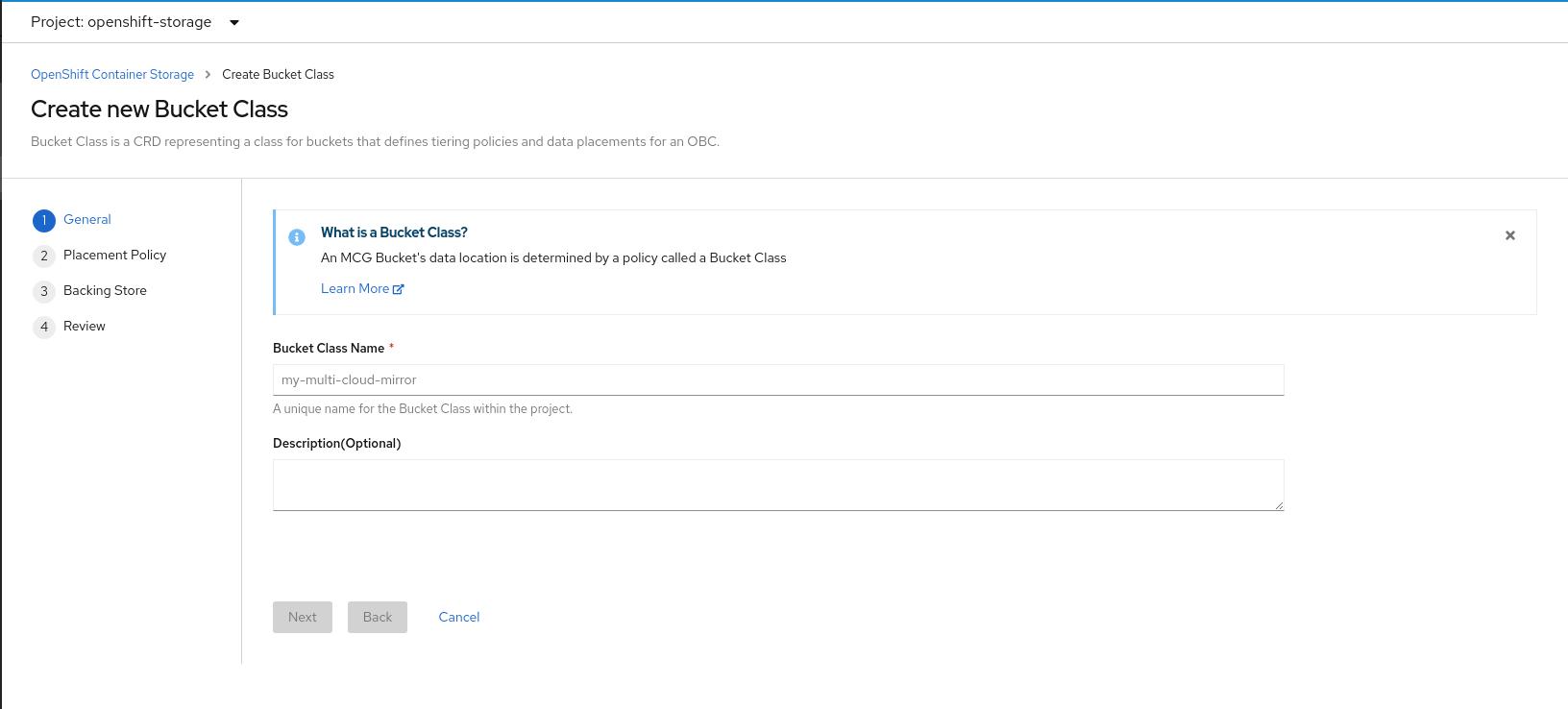 Screenshot of create new bucket class page.