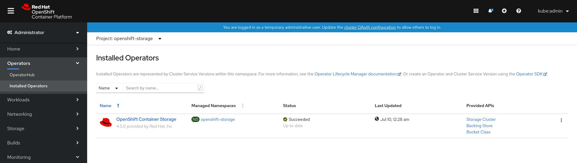 Screenshot of OpenShift Container Storage operator dashboard.
