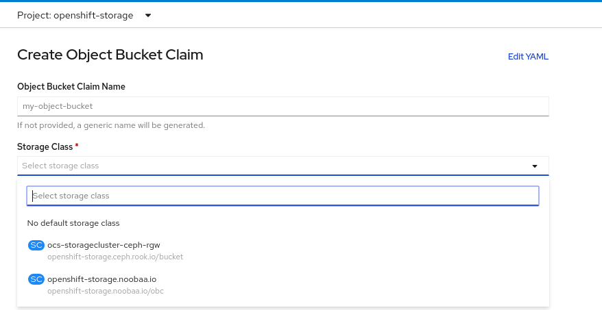 Create Object Bucket Claim wizard