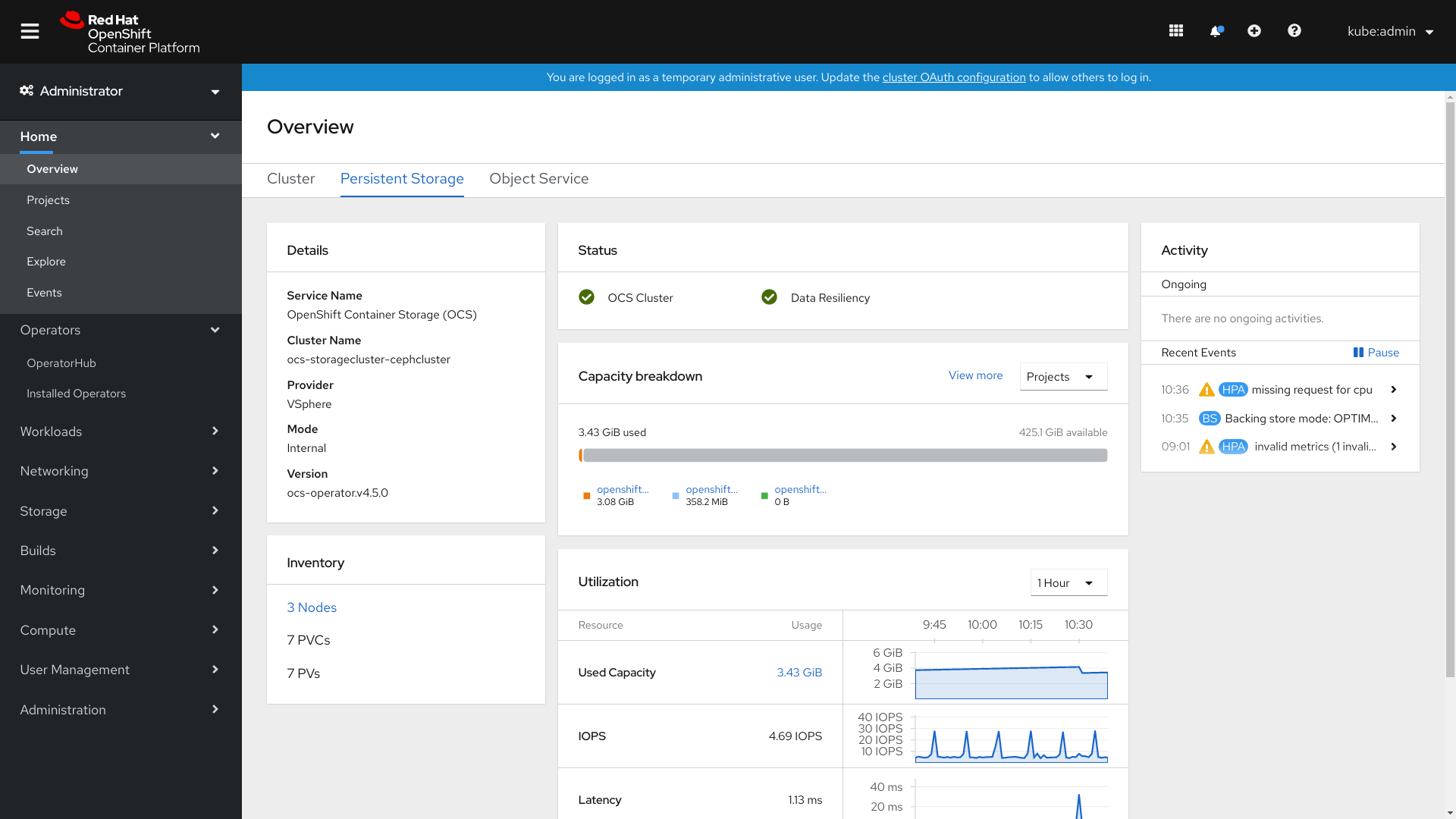 Screenshot of persistent storage dashboard