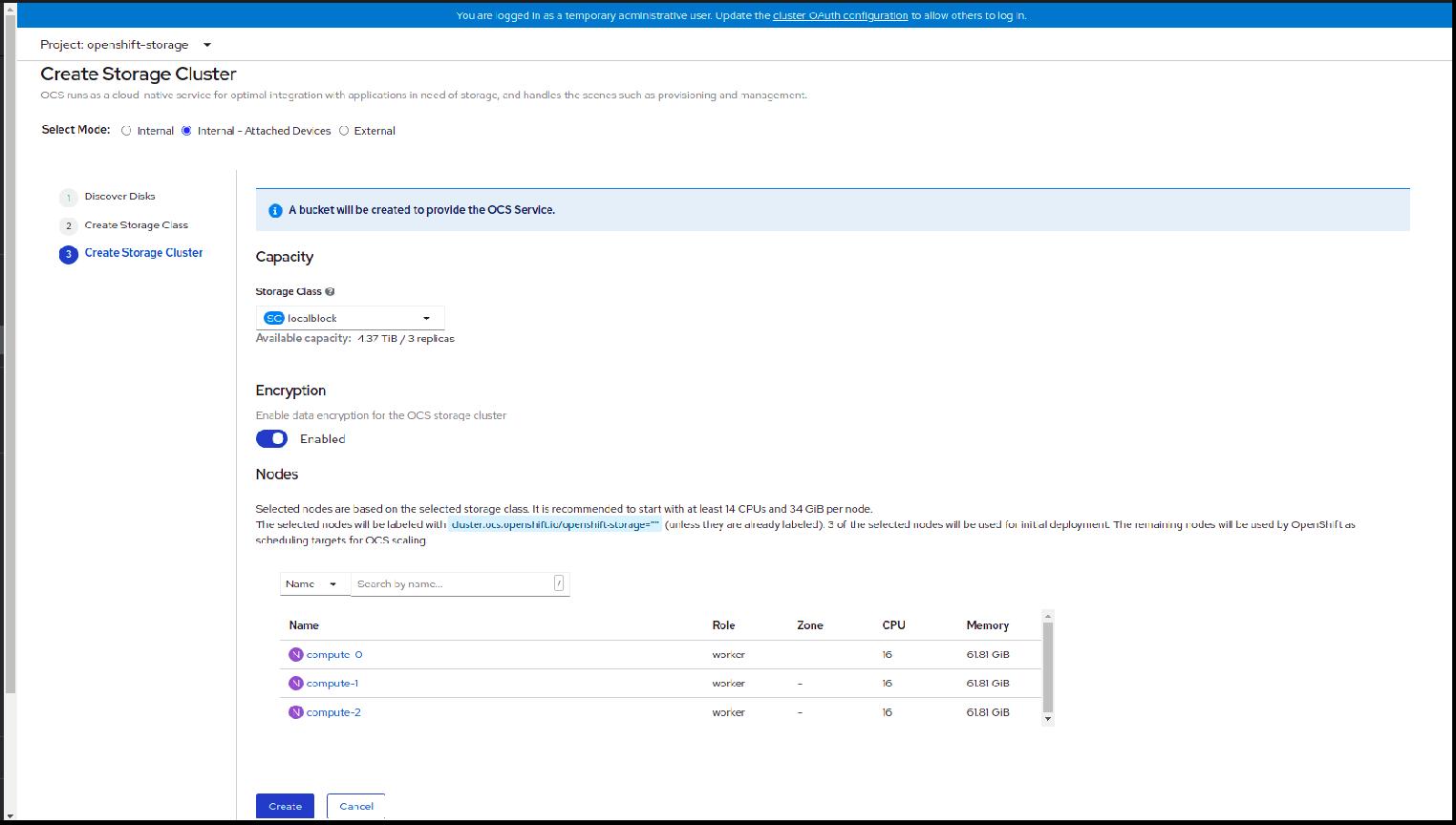 Screenshot of storage cluster creation.